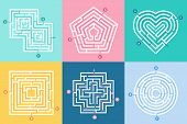 Maze Entrance. Find Right Way, Kids Labyrinth Game And Choice Mazes Entrances Letters Vector Illustr poster