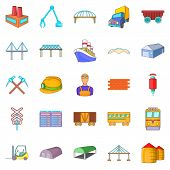 Physical Labor Icons Set. Cartoon Set Of 25 Physical Labor Icons For Web Isolated On White Backgroun poster