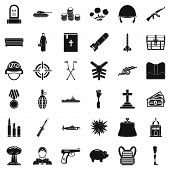 War Offence Icons Set. Simple Style Of 36 War Offence Icons For Web Isolated On White Background poster