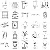 Appliances Icons Set. Outline Set Of 25 Appliances Icons For Web Isolated On White Background poster