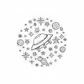 Composition With Cute Hand Drawn Space Objects: Stars, Rockets, Planets, Etc. Hand-drawn Vector Coll poster