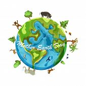 Mother Earth Day Cartoon Earth Illustration On White Background poster
