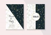Graphic Marble Wedding Invitation Vector Set. Noble Soft Faded Nice Marbling Texture, Pink, Grey, Wh poster