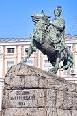 stock photo of bohdan  - Bronze monument of Ukrainian Hetman Bohdan Khmelintsky on Sofievskaya square in Kiev Ukraine - JPG