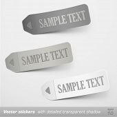 Stickers with detailed transparent shadow. Vector