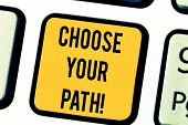 Text Sign Showing Choose Your Path. Conceptual Photo Decide Your Far Future Life Career Partner Or H poster