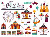Amusement Park Attractions Set. Carnival Amuse Kids Carousels Games Fairground Attraction Play Rolle poster