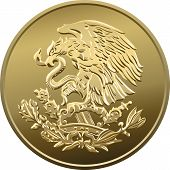 Vector Mexican Money Gold Coin With The Image Of The Heraldic Eagle With A Snake