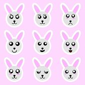Set Of Rabbit Stickers. Different Emotions, Expressions. Sticker In Anime Style. Vector Illustration poster