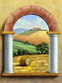 Beautiful tuscan landscape seen through a window. Hand painted digital illustration.