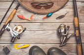 Fishing Background Theme. Fishing Rods With Reels, Fishing Tackles, Rubber Boots, Fishing Buoy And P poster