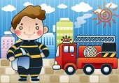 stock photo of fire truck  - Smiling Young Fireman and Fires in a high - JPG