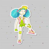 Young Girl With Blue Hair In Baseball Cap And Overalls, Vector Cartoon Hand Draw Illustration. Teena poster