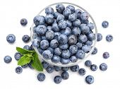 Berry blueberry with leaf mintclose-up. Fruity still life for organic healthy food, isolated on whit poster