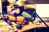 Professional Studio Microphone, Recording Studio, Equipment In The Blurry Background poster