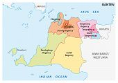 Banten Administrative And Political Vector Map, Indonesia poster