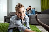 Happy Family, Mom, Dad And Son Spend Time Together, Family Spend Time Happiness Holiday Togetherness poster