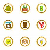 Craft Beer Icons Set. Cartoon Set Of 9 Craft Beer Icons For Web Isolated On White Background poster