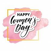 Woman S Day Text Design With Flowers And Hearts On Square Background. Vector Illustration. Woman S D poster
