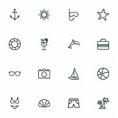 Summer Icons Line Style Set With Shorts, Anchor, Drink And Other Beachwear Elements. Isolated Vector poster