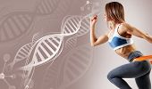 Athletic Fitness Woman Among Dna Chains. Metabolism Concept poster