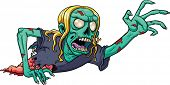 stock photo of corpses  - Crawling cartoon zombie - JPG