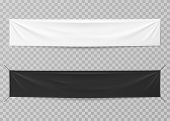 Textile Banners. Black And White Blank Horizontal Advertising Cloths. Folded Empty Cotton Stretched  poster