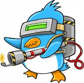stock photo of flamethrower  - Warrior Commando Penguin Vector Illustration Art - JPG