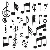 Music Note. Doodles Sketch Musical Vector Hand Drawn Pictures Isolated. Illustration Of Musical Note poster
