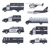 Police Cars. Vehicle Protection Services Automobiles Vector Transport. Illustration Of Police Automo poster