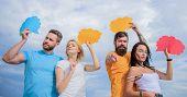Mass Communication. Communication Occurs Through Speech Balloons. Friends Send Messages On Comic Bub poster