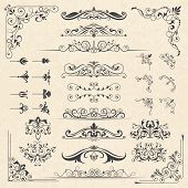 Calligraphy Borders Corners. Classic Vintage Ornament Victorian Old Frames Vector Design Elements. I poster