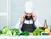 Get Ready. Man Bearded Chef Getting Ready Cooking Delicious Dish. Chef At Work Starting Shift. Guy I poster