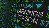 Earnings Season Company Reports Stock Market Ticker Words 3d Illustration poster