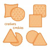 Tasty Crackers And Cookies Set Vector Illustration. Cracker Snack Isolated, Tasty Bakery Cookie poster