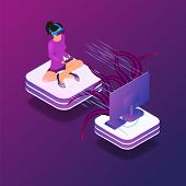 Isometric Image Gaming In Virtual Reality In 3d. Vector Illustration Girl Playing Video Game Tv Usin poster