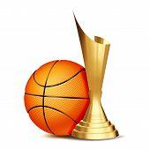 Basketball Game Award Vector. Basketball Ball, Golden Cup. Modern Tournament. Design Element For Spo poster