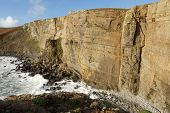 image of dory  - The large shale cliffs of Craig Dorys on Cilan Head near Abersoch Lleyn Peninsular North Wales UK - JPG