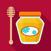 Honey Jar Icon. Flat Illustration Of Honey Jar Vector Icon For Web Design poster