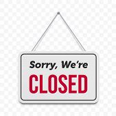 Closed Hanging Door Sign. Vector Isolated Sorry We Are Closed Red Text On White Signboard poster
