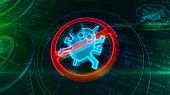 Antivirus Symbol On Binary Background With Digital Worm Ban. Abstract 3d Illustration Of Cyber Prote poster