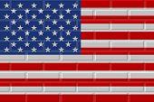 United States Of America Painted Flag. Patriotic Brick Flag Illustration Background. National Flag O poster