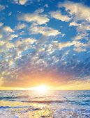 Seascape With Rising Sun Above The Summer Sea.breathtaking View Of Heaven At Sunrise In High Summer. poster