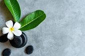 Thai Spa.  Top View Of White Plumeria Flower Setting For Massage Treatment And Relax On Concrete Bla poster