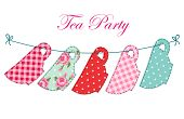 Cute Set Of Kitchenware For Tea Party Decoration As Retro Applique In Shabby Chic Style poster