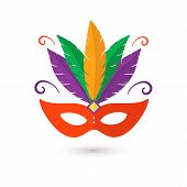 Hand Drawn Flat Carnival Mask With Feathers. Happy Carnival Festive Illustrations Of Venetian Painte poster