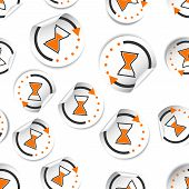 Hourglass Time Sticker Icon Seamless Pattern Background. Business Flat Vector Illustration. Hourglas poster