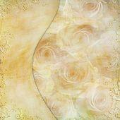 Постер, плакат: Золотая открытка с красивой розы