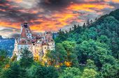 Landscape With Medieval Bran Castle Known For The Myth Of Dracula At Sunset, Brasov Landmark, Transy poster