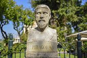 Sculptural Representation Of Pythagoras Greek Philosopher And Mathematician (580-495 Bc) poster